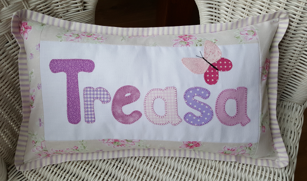 Sandra Healy Designs Name Cushion butterfly